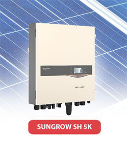Sungrow inverter with solar panel behind