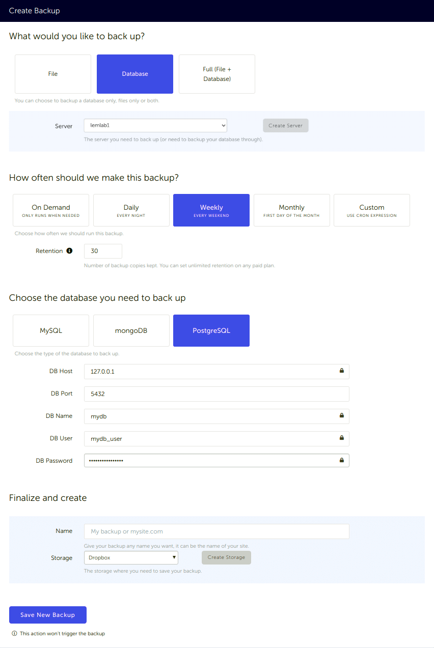 Configuration form, for a PostgreSQL database backup connected to your Dropbox storage