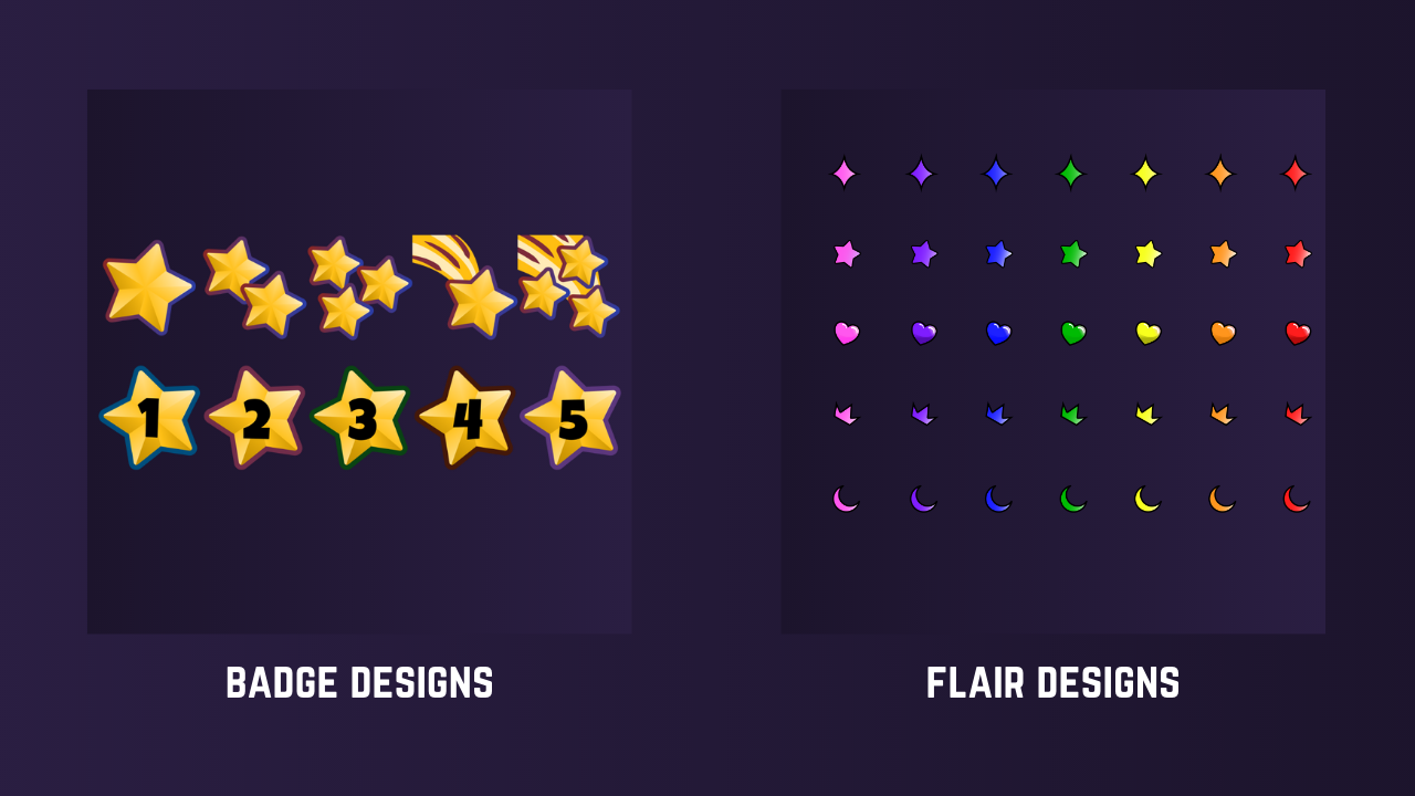 Preview of Twitch badge and flair designs