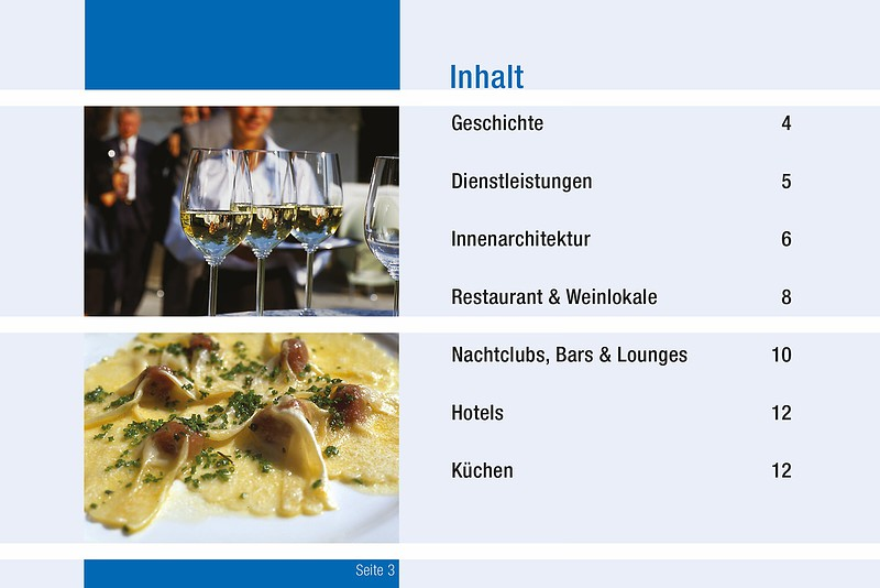 Business-Broschüre Inhaltsverzeichnis