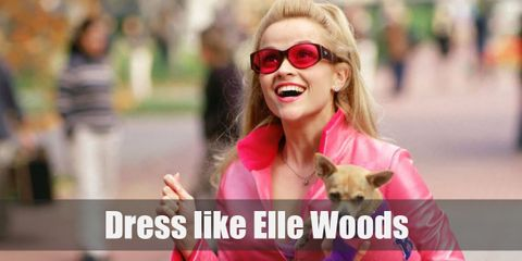 Elle Woods's typical outfit consists of pink from head to toe and she mostly has her pet Chihuahua with her as well.