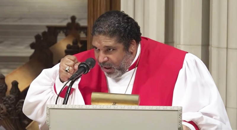 Reverend William S. Barber III giving sermon at Washington National Cathedral on June 14 2020.