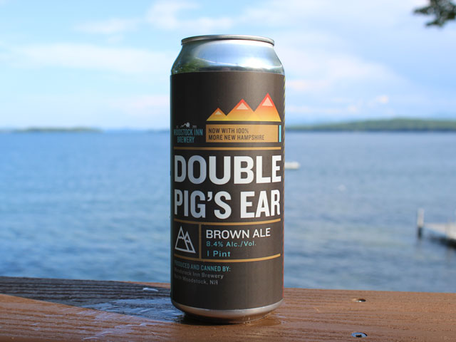 Double Pig's Ear, a brown ale brewed by Woodstock Inn Brewery