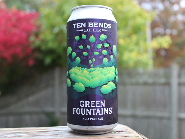 Green Fountains, a Double IPA brewed by Ten Bends Beer