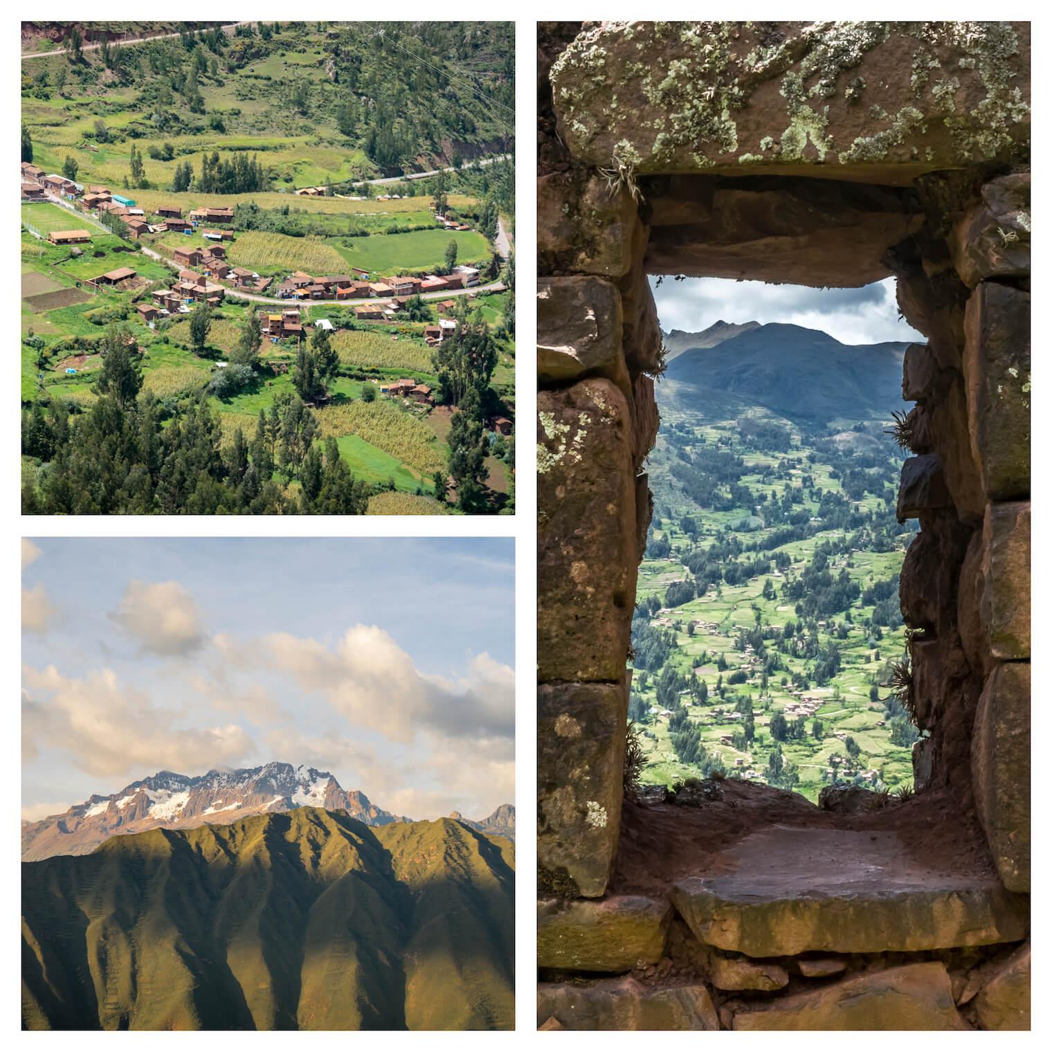 3 Fotos: superior esquerda, um vale bastante verde com pequenas casas de telhado de barro. Esquerda inferior: duas montanhas sobrepostas, uma com neve e outra verde. Em destaque na direita: uma janela feia em rocha com a vista para um vale com várias arvores.