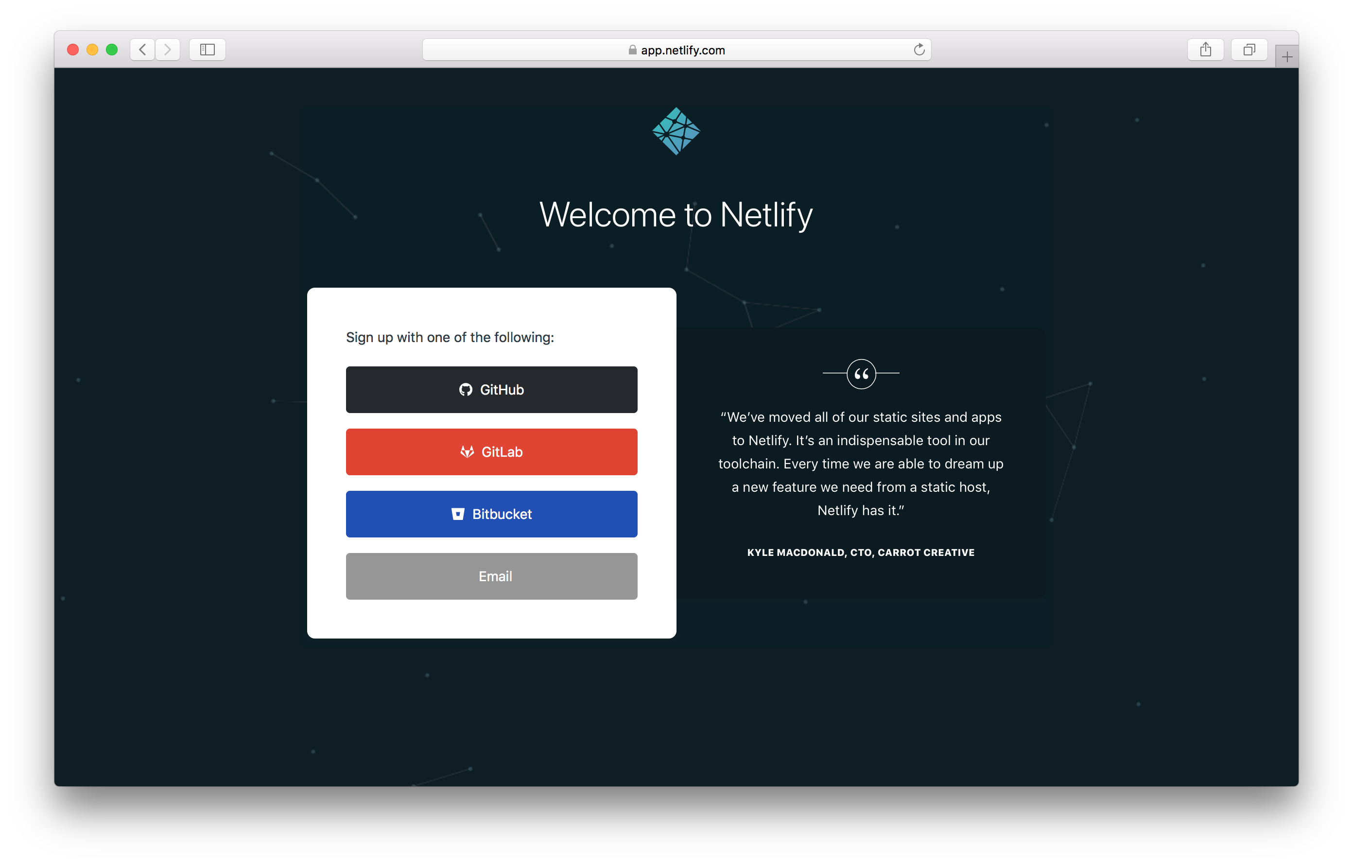 Signup for Netlify screenshot