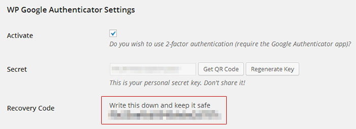 WP Google Authenticator Recovery Code Feature