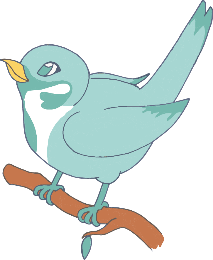 A cartoon drawing of a little sparrow