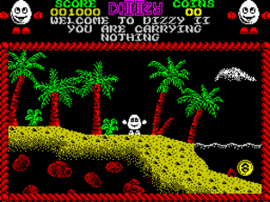 The first screen of the Treasure Island Dizzy,...