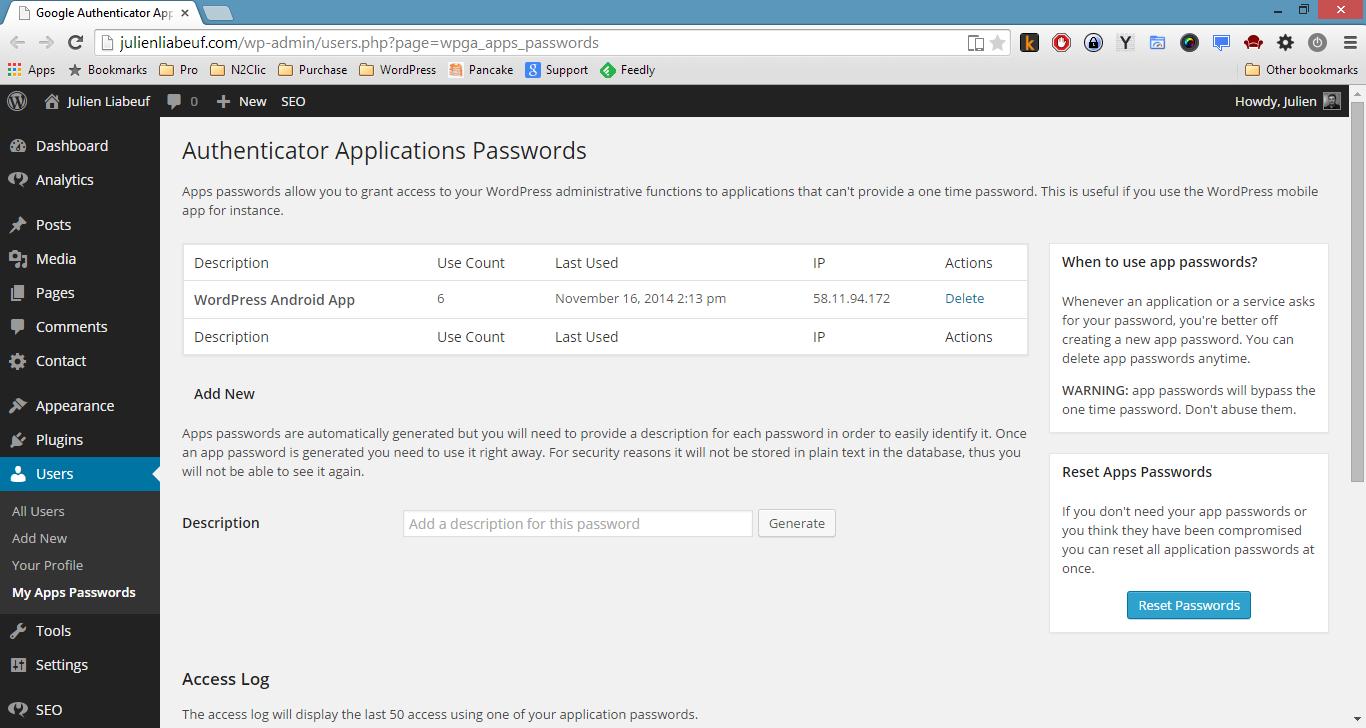 App Passwords List
