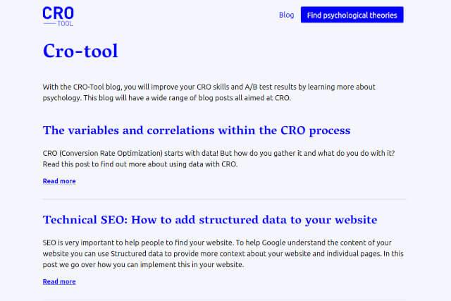 CRO-tool homepage