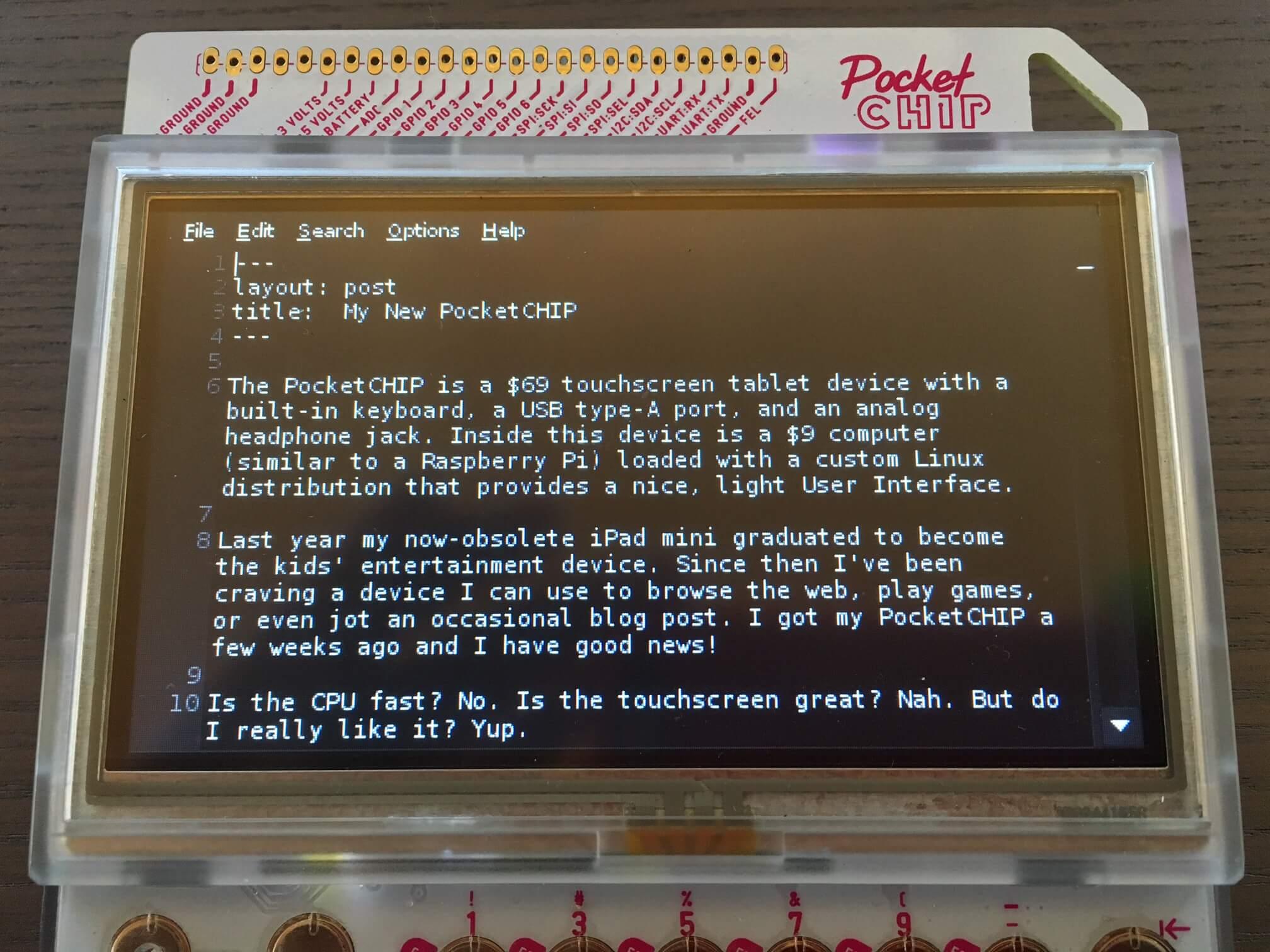 Text editor for PocketCHIP