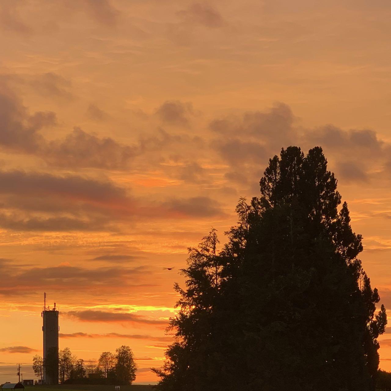 Sonnenuntergang mit Blick auf Augsburg