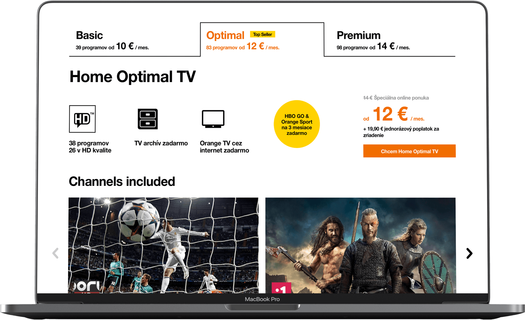 Orange TV home page