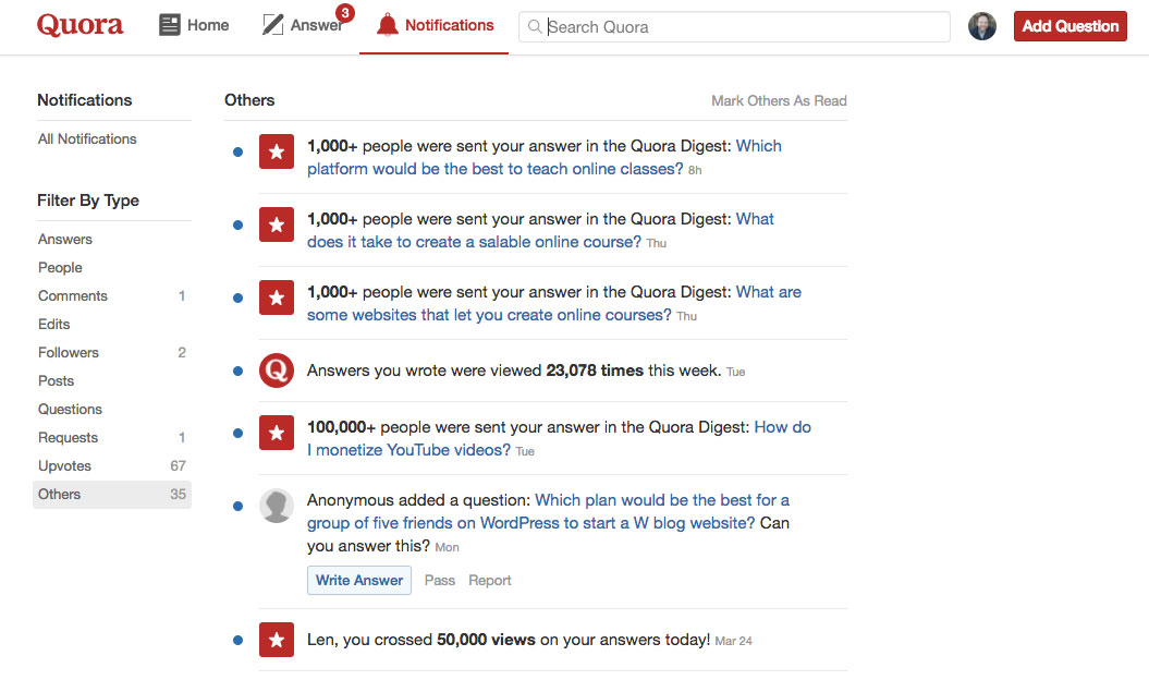 Results from writing answers on Quora.