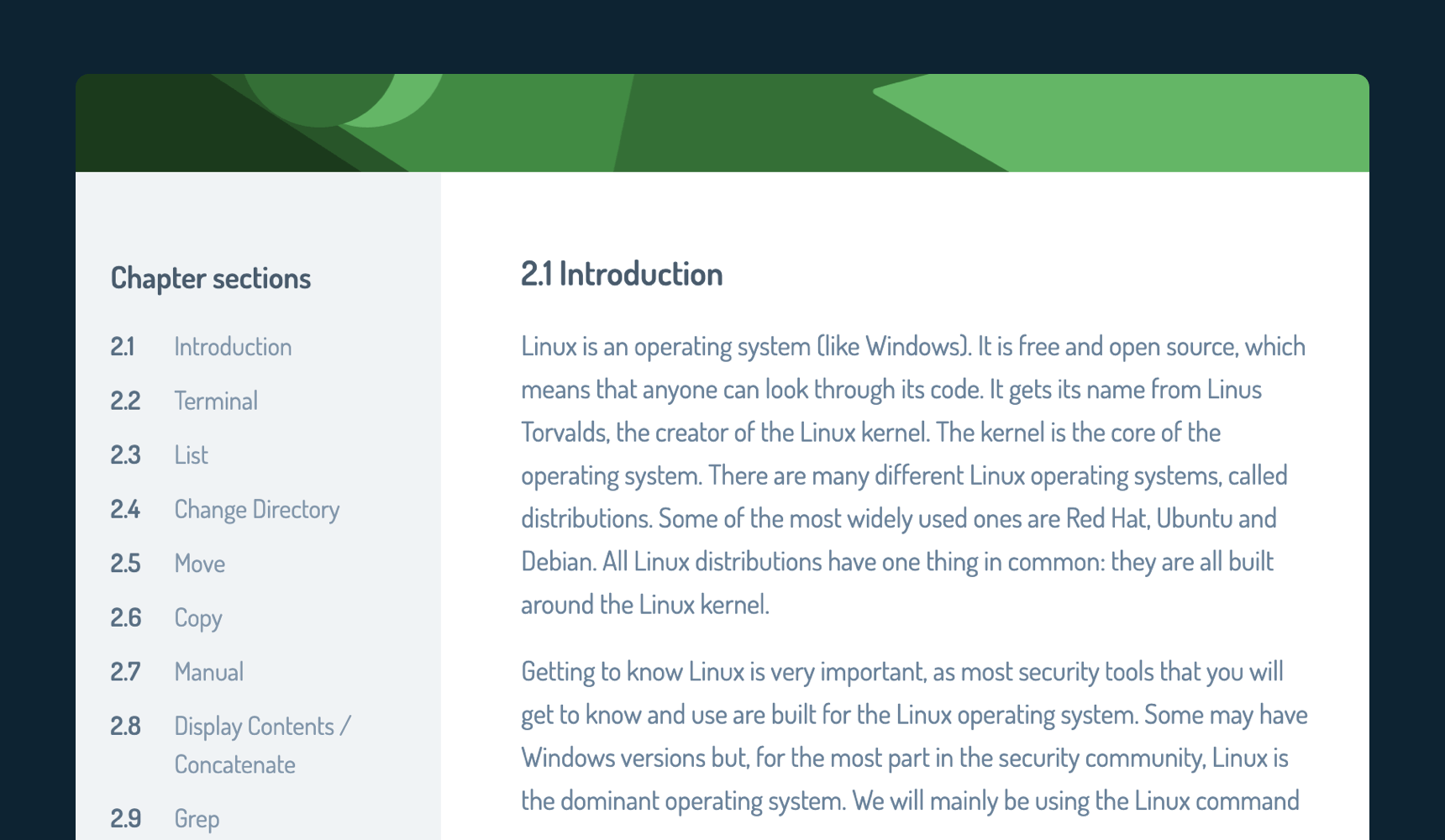 An example section from the Field Manual with an introduction to Linux