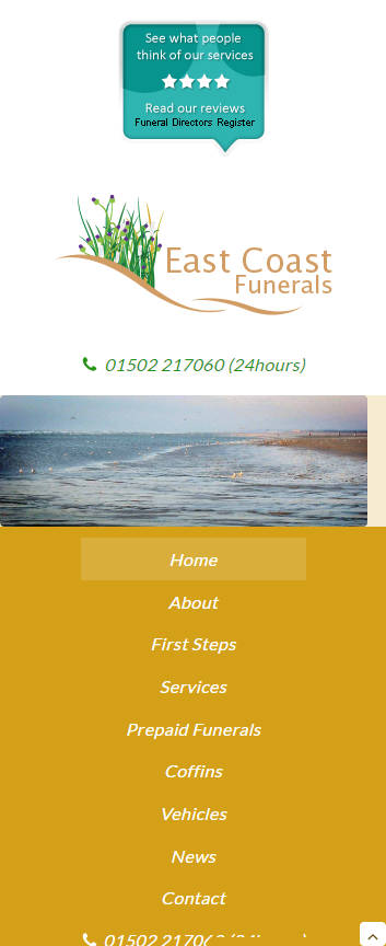 East Coast Funerals website frontpage on a mobile