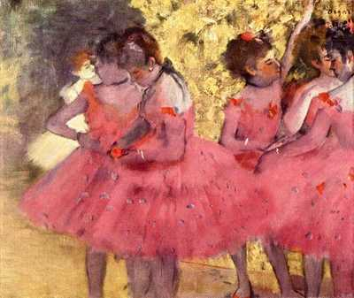 Ballerinas in Pink, one of well over one hundred works by Edgar Degas on this topic.