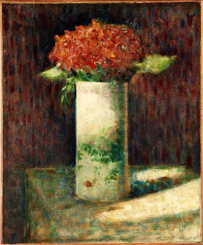 'Flowers in a vase' by Seurat, 1879, Fogg Museum