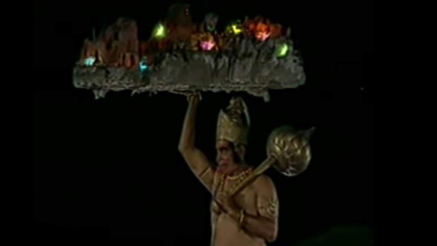 Hanuman lifting the mountain with Sanjeevani Booti
