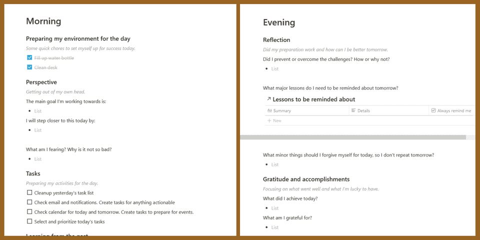 "Screenshot of the Morning and Evening sections of My Dailiy Plan and Review. Including questions like ""What am I fearing? Why is it not so bad?"" and ""What did I achieve today?"""