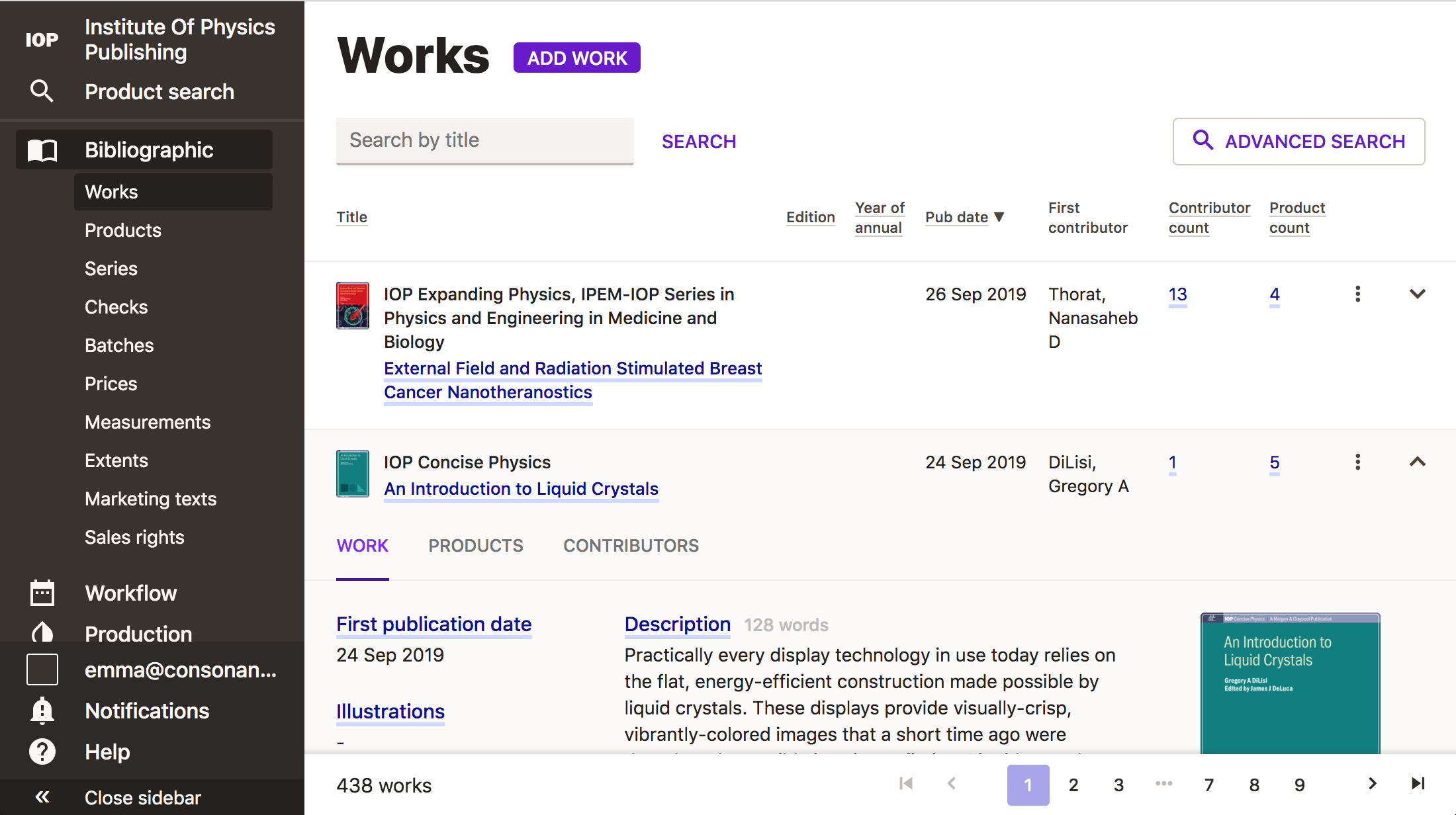 Screenshot showing the works listing page.