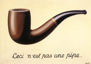 Magritte's painting depicting a pipe with a French-language caption that says this is not a pipe