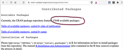 Screenshot displays webpage 'Contributed Packages' of the R-project with the number of available packages (= 17648) highlighted.