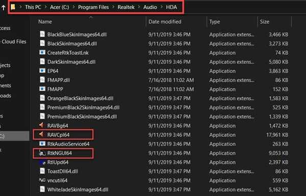 Realtek HD audio manager Folder