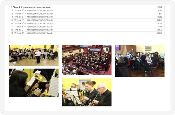 The audio and image section of the Aberdeen Concert Band Media Page showcased on a screen