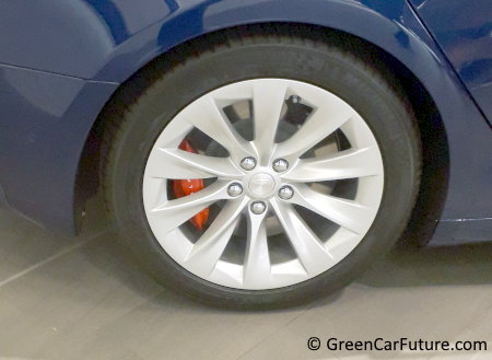 Photograph of Tesla Model S wheel and tire