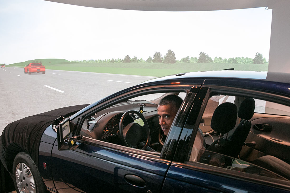 Obama in a driving simulator