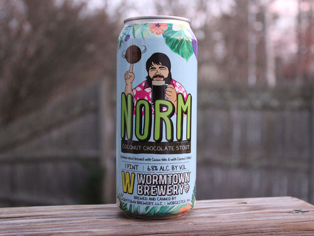 Norm, a Coconut Chocolate Stout brewed by Wormtown Brewery