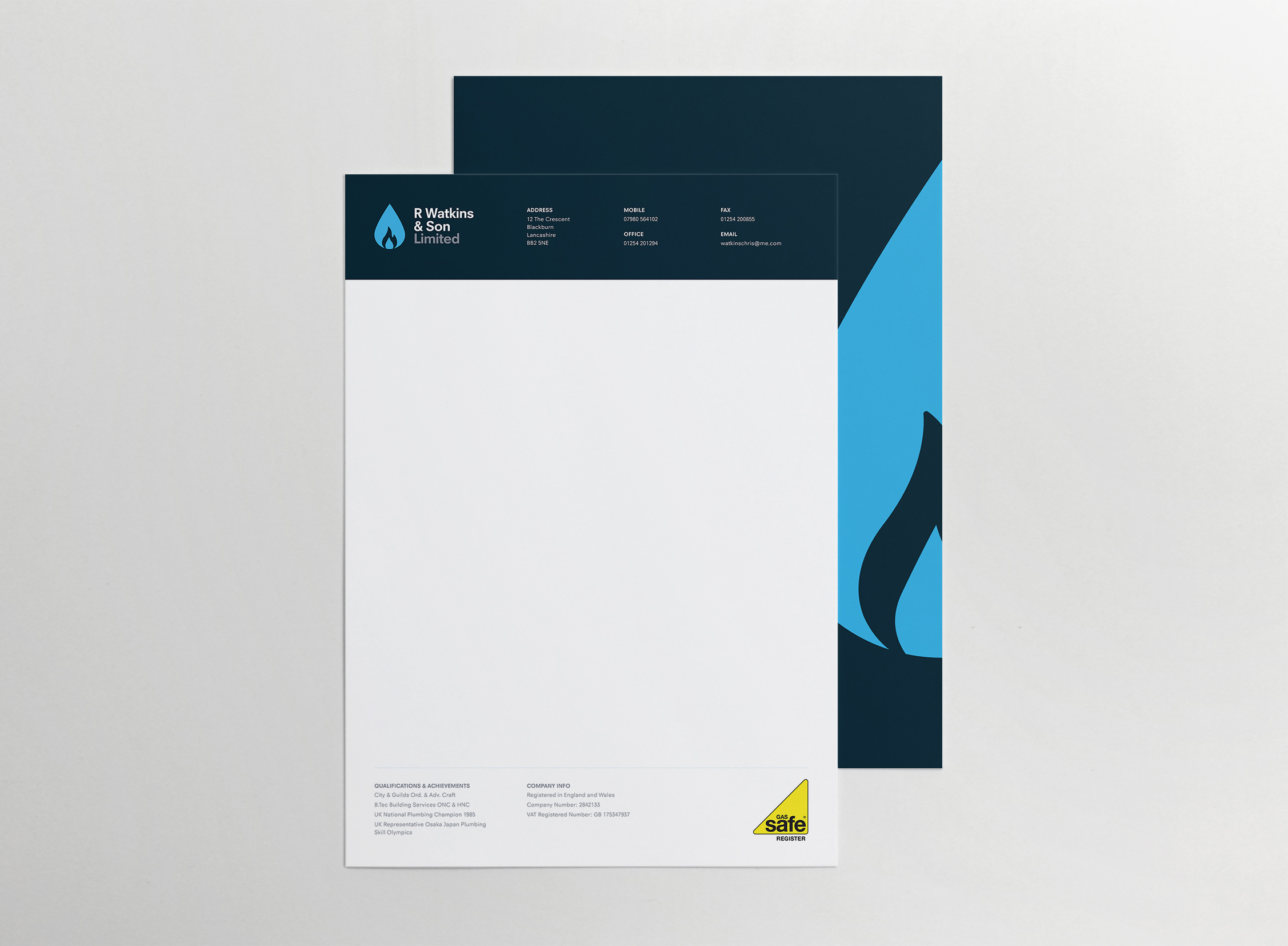 Letterhead design for established plumbing and heating business, R Watkins & Son Limited