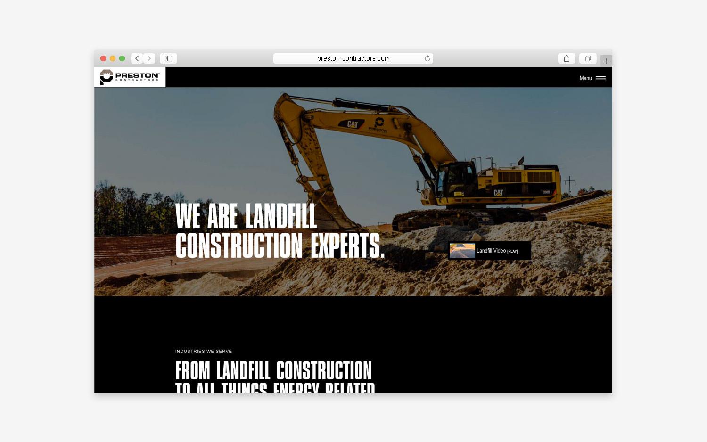 Preston Contractors website - desktop view