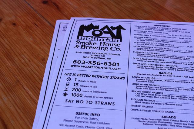 Moat Mountain's Food Menu
