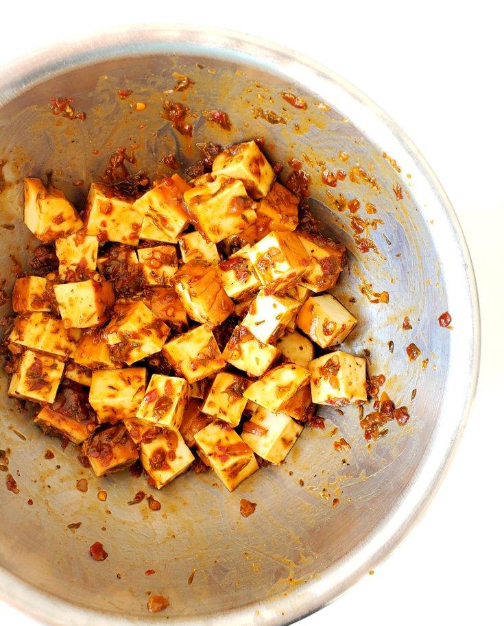 Smoked Tofu Tossed in Jerk Sauce