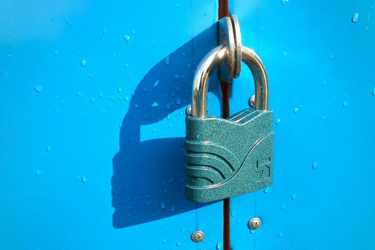 """Lock on blue wall"""