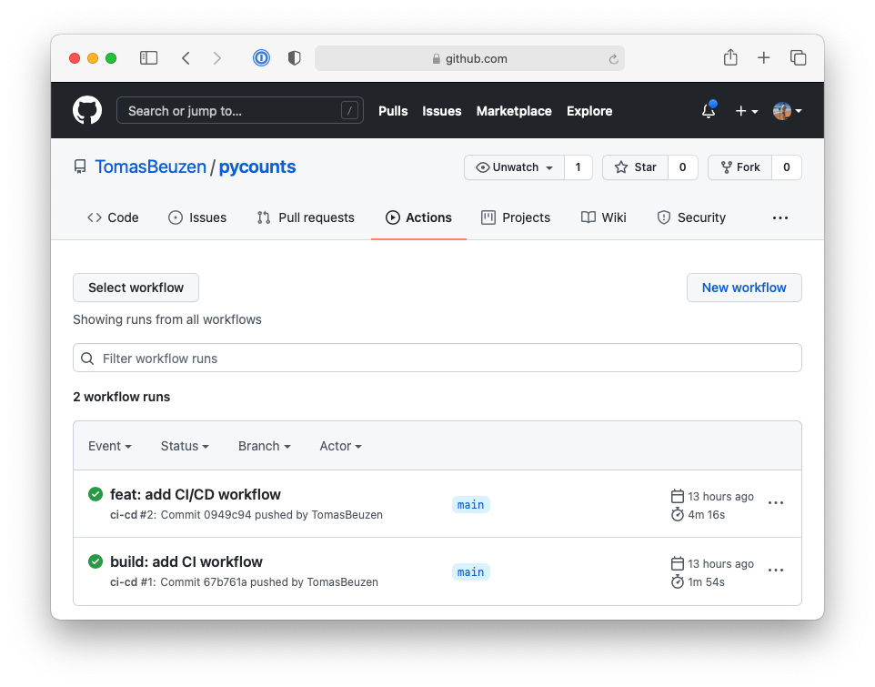 Continuous deployment workflow on GitHub.