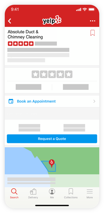 Online booking Yelp page on mobile device