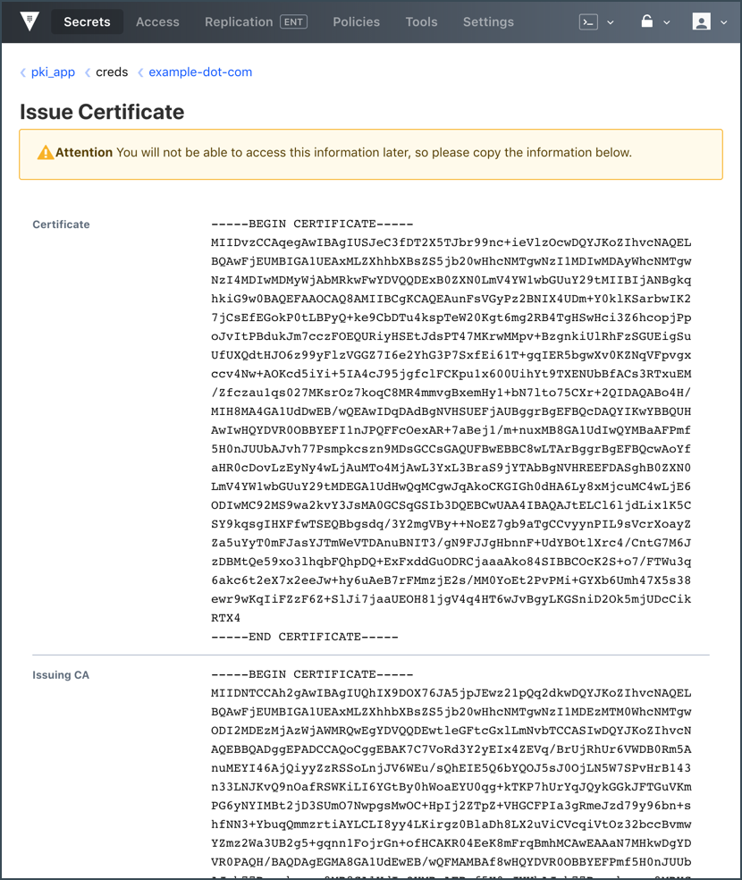 Issue Certificate