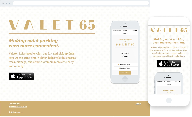 Valet65 marketing website