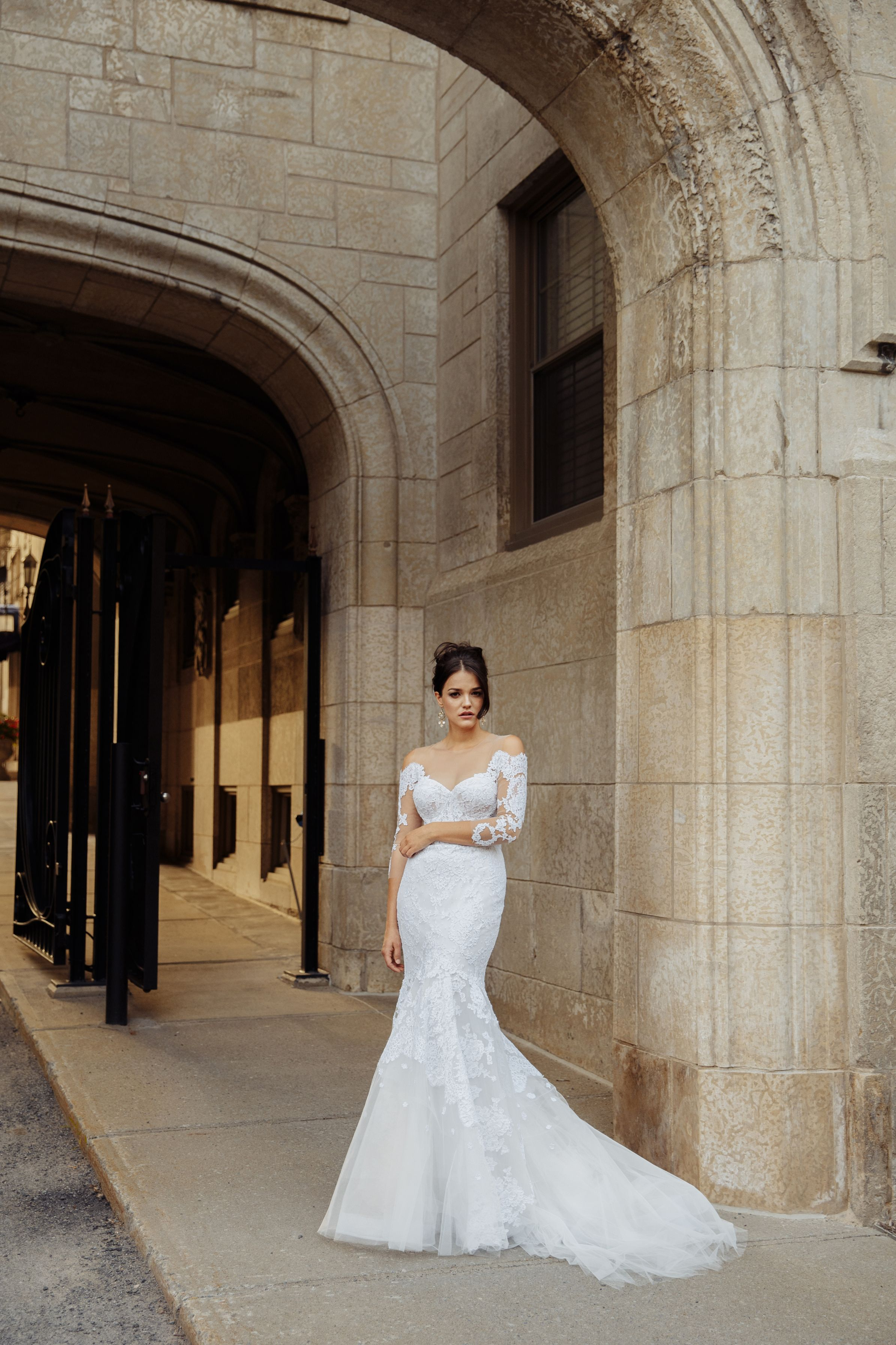 french lace wedding gown mermaid montreal bridal boutique