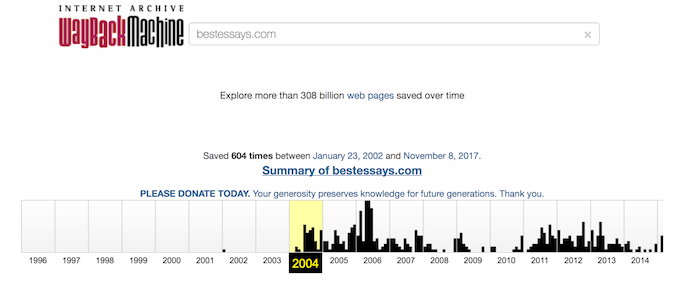 webarchive.org data shows bestessays.com was launched in 2004, not 1997