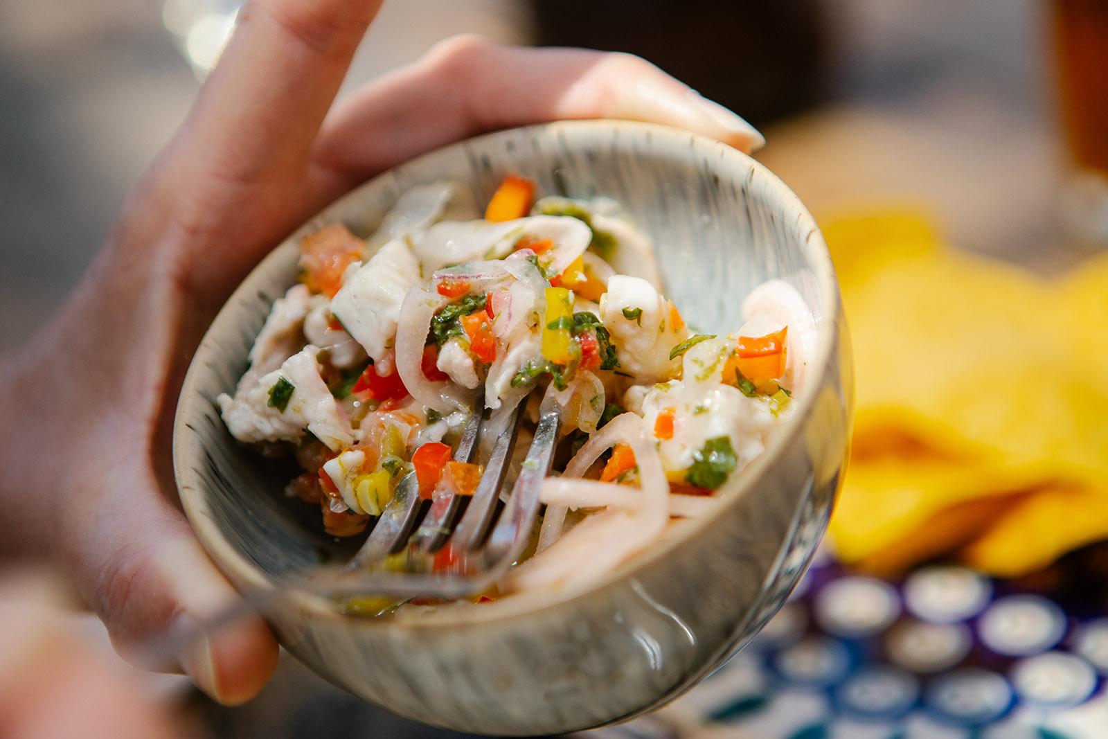 ceviche in a small stone bowl