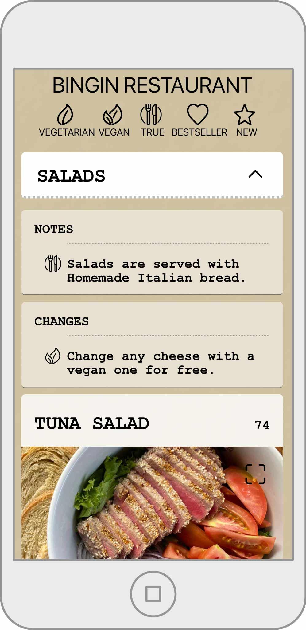 Casa Asia Bingin Restaurant visual menu