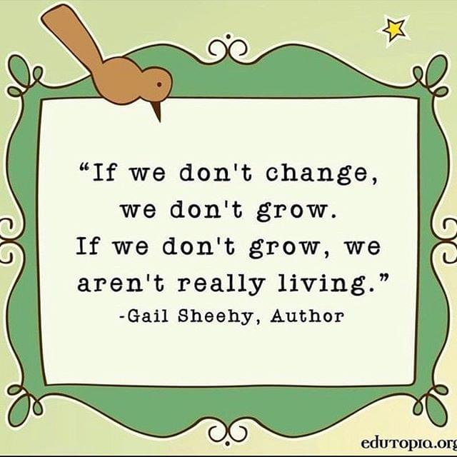 If we don't change, we don't grow. If we don't grow, we aren't really living.