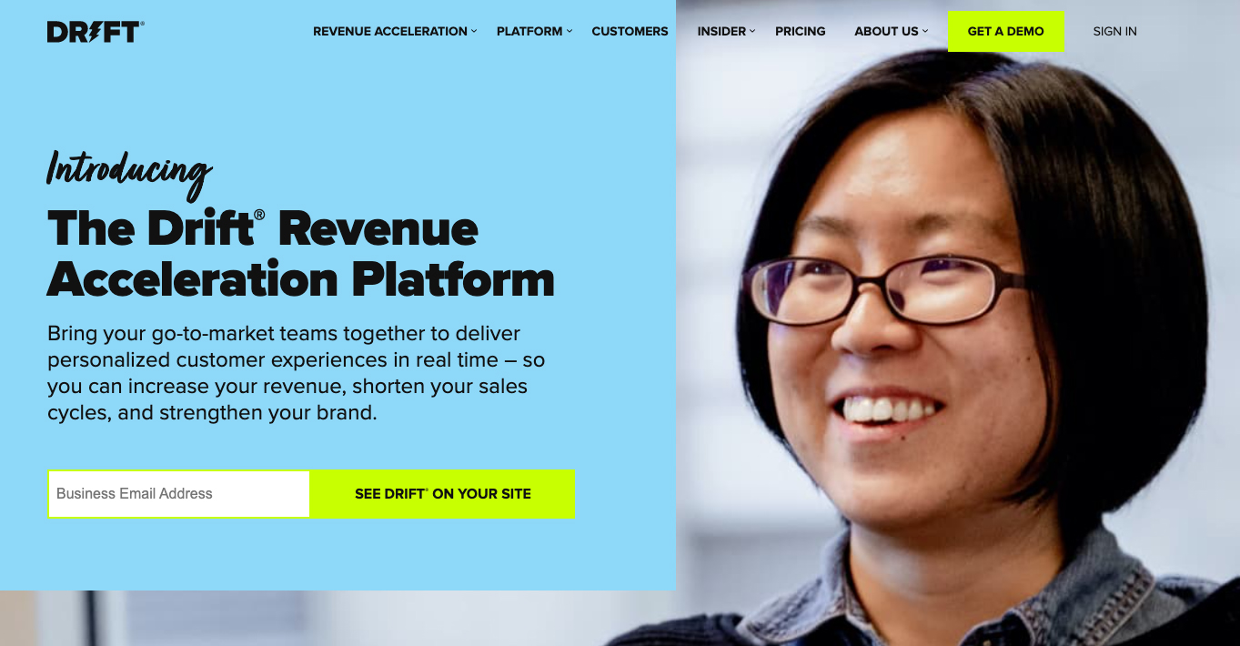 SaaS Marketing Automation Tools: Drift Screenshot