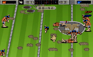 A screenshot of the Amiga version of Brutal Sports Football, showing a player who has been comically decapitated