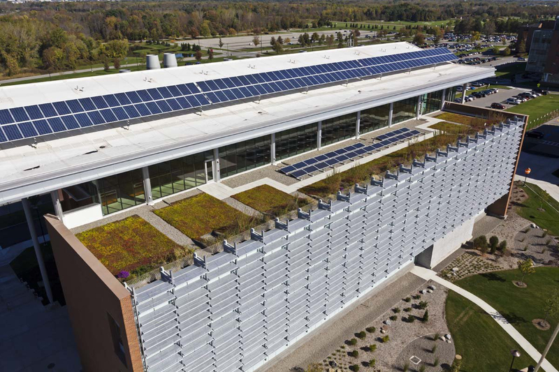 Aerial view of the Golisano Institute for Sustainability RIT building